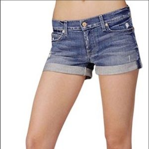 7 for all mankind rolled denim shorts women's 28